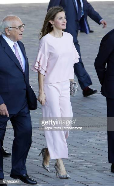 Queen Letizia of Spain visits Foundation Against Drugs at Telefonica headquarters on July 4 2017 in Madrid Spain