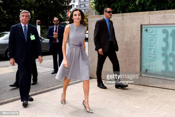 Queen Letizia of Spain visits Geneva headquarters of global cancer organization Union Internationale Contre le Cancer to meet with HRH Princess Dina...