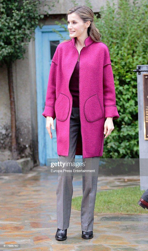 Queen Letizia of Spain visits Los Oscos Region on October 22, 2016 in Los Oscos, Spain. The region of Los Oscos was honoured as the 2016 Best Asturian Village on October 22, 2016 in Los Oscos, Spain.