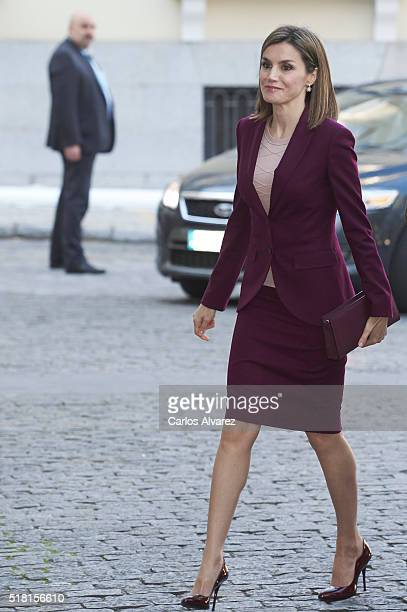 Queen Letizia of Spain visits 'Microfinanzas BBVA' Foundation on March 30 2016 in Madrid Spain