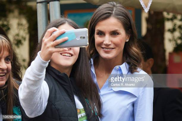 Queen Letizia of Spain visits Moal village on October 20 2018 in Cangas de Narcea Spain Moal has been honoured as the 2018 Best Asturian Village on...