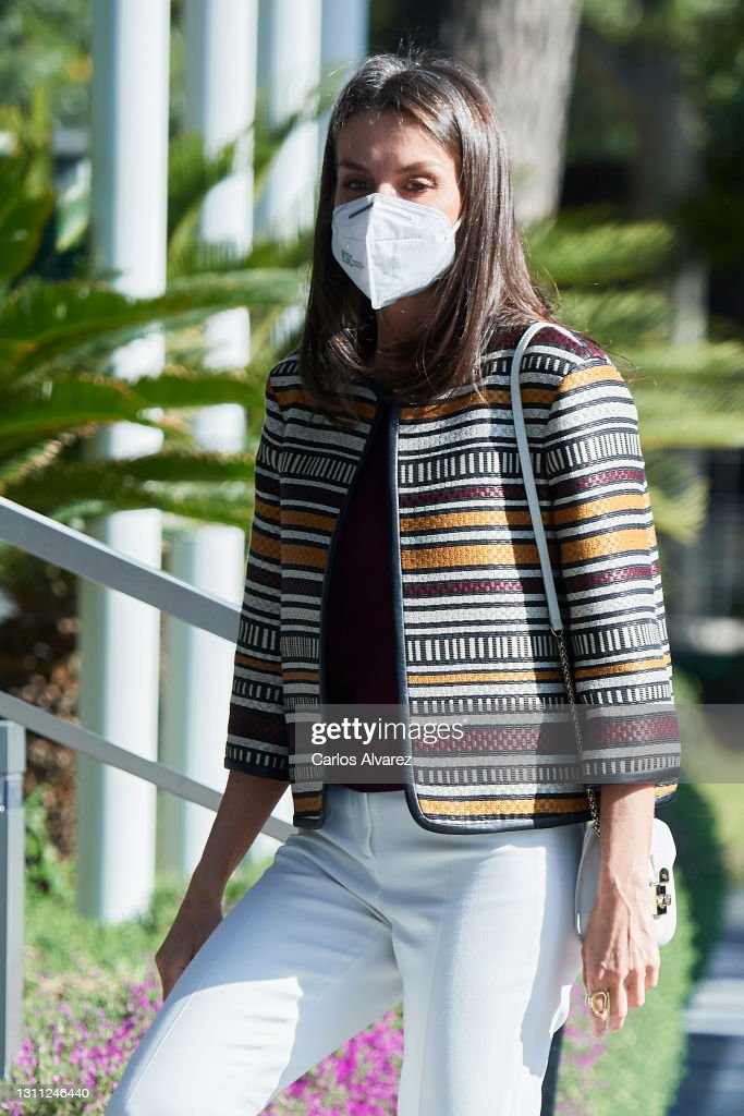 Queen Letizia Of Spain Visits 'Mutua Madrileña' Headquarters : News Photo