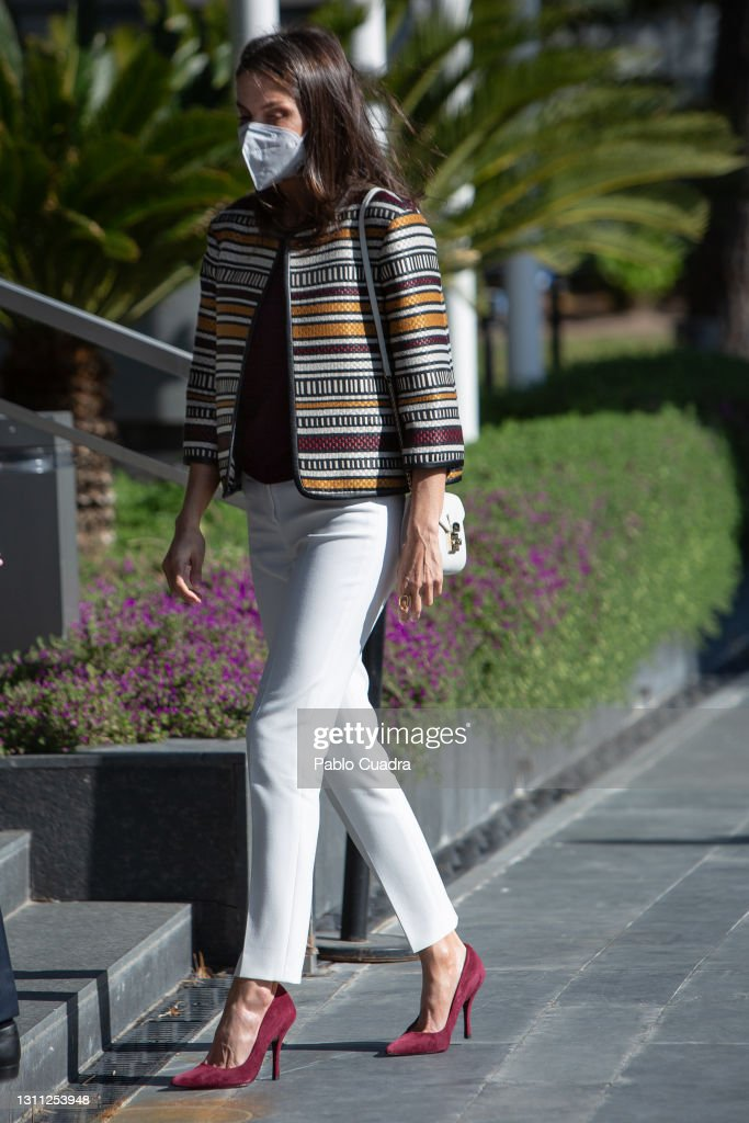 Queen Letizia Of Spain Visits 'Mutua Madrileña' Headquarters : News Photo