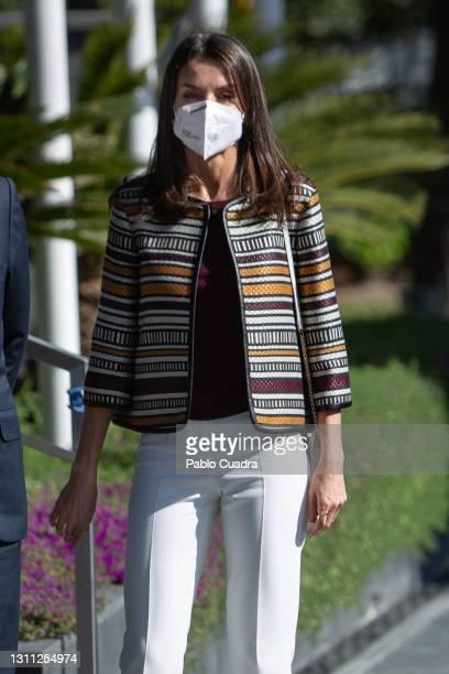 Queen Letizia Of Spain visits 'Mutua Madrileña' Headquarters on April 07, 2021 in Madrid, Spain.