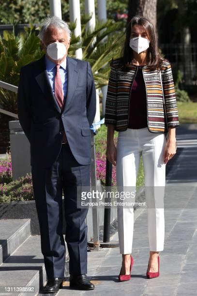 Queen Letizia Of Spain visits Mutua Madrilena Headquarters on April 07, 2021 in Madrid, Spain.
