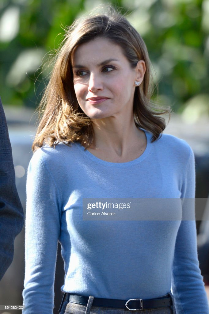 Queen Letizia of Spain visits Porenu village on October 21, 2017 in Villaviciosa, Spain. Porenu has been honoured as the 2017 Best Asturian Village on October 21, 2017 in Villaviciosa, Spain.