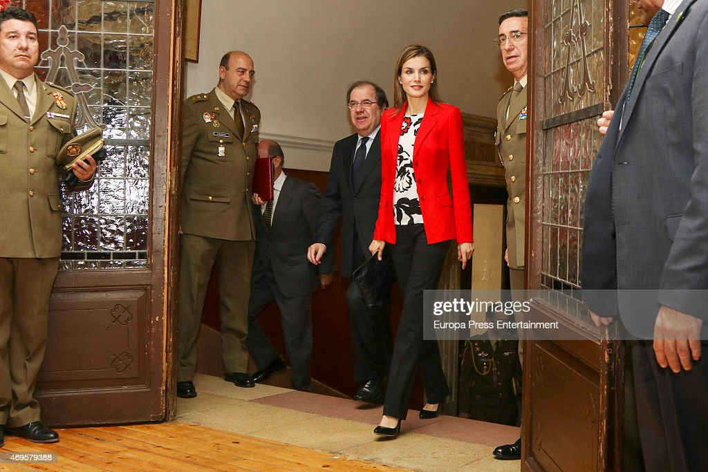 Queen Letizia Of Spain Visits Artillery Military Academy In Segovia : News Photo