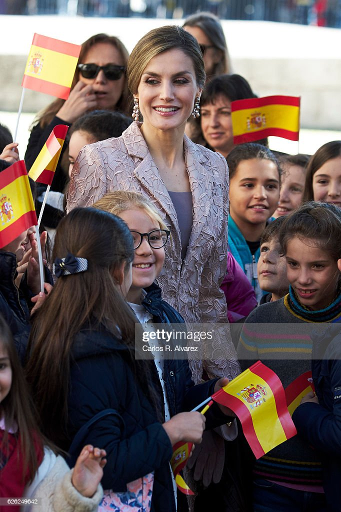 Queen Letizia of Spain visits the Chamber of Commerce of Porto during her official visit to Portugal on November 28, in Porto, Portugal