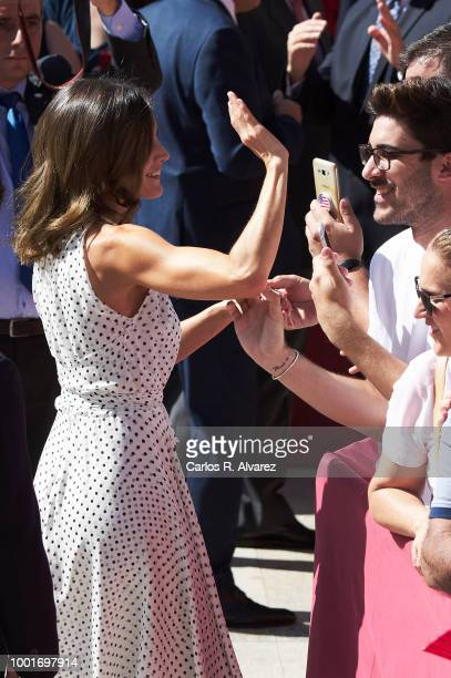 Queen Letizia of Spain visits the city of Bailen in occasion of the 210th anniversary of the Bailen Battle on July 19 in Bailen Spain