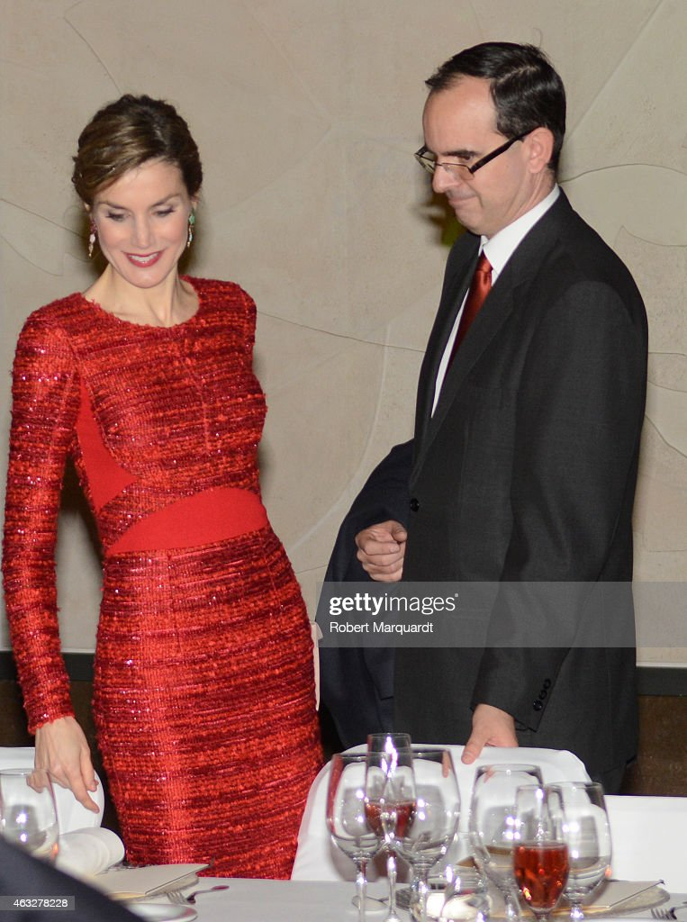Queen Letizia of Spain (L) visits the 'Freixenet' wine cellar on February 12, 2015 in Sant Sadurni d'Anoia, Spain. Freixenet celebrates it's 100th anniversary as a cava winery specializing in sparkling wine making.