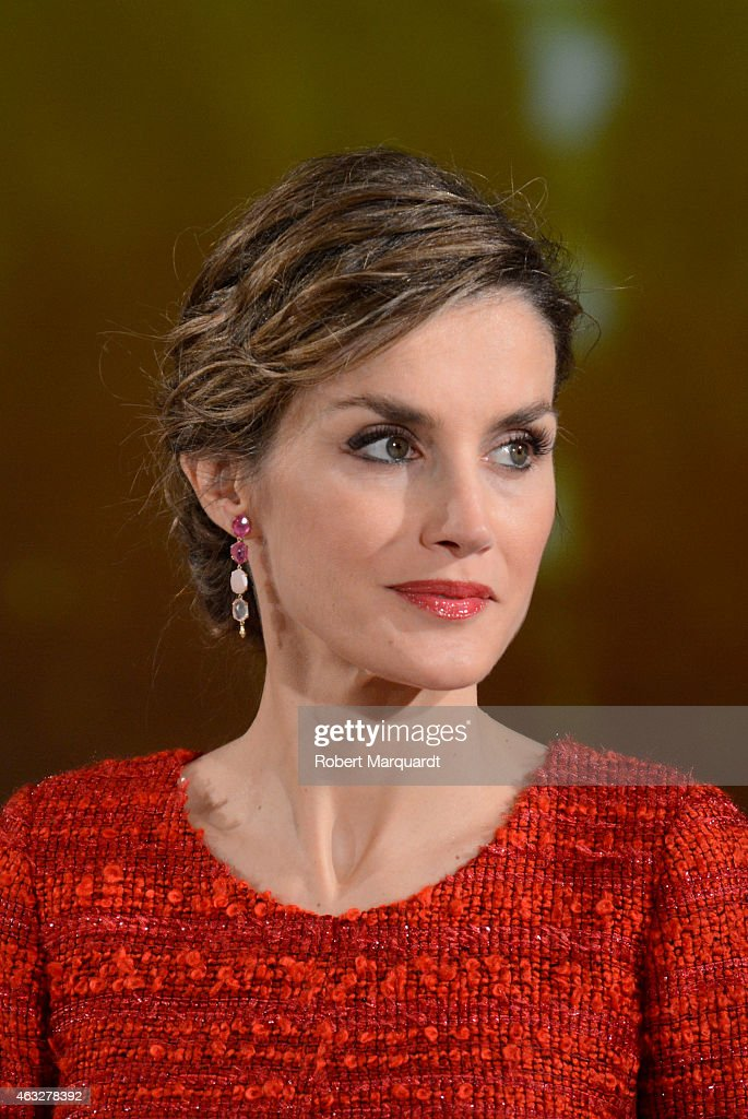 Queen Letizia of Spain visits the 'Freixenet' wine cellar on February 12, 2015 in Sant Sadurni d'Anoia, Spain. Freixenet celebrates it's 100th anniversary as a cava winery specializing in sparkling wine making.