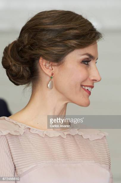 Queen Letizia of Spain visits the headquarters of World Food Program of the Palmas de Gran Canaria and the Center for Cooperation with Africa of the...