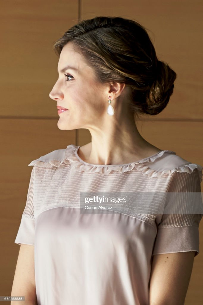 Queen Letizia of Spain visits the headquarters of World Food Program of the Palmas de Gran Canaria and the Center for Cooperation with Africa of the Spanish Red Cross at Puerto de la Luz on April 24, 2017 in Las Palmas de Gran Canaria, Spain.