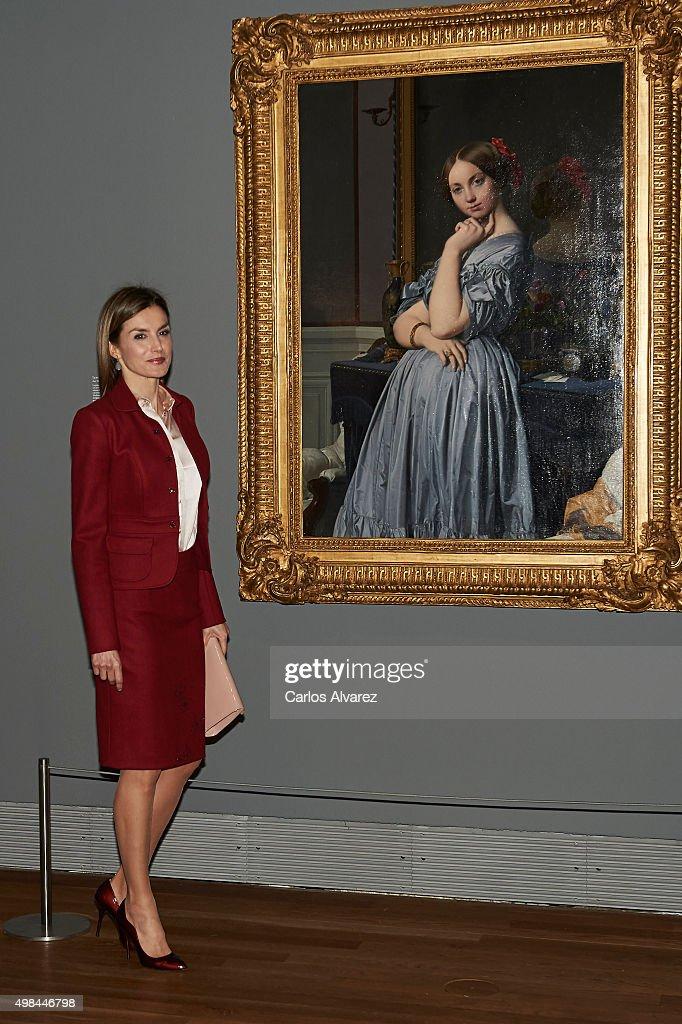 Queen Letizia of Spain visits the 'Ingres' exhibition at the El Prado Museum on November 23, 2015 in Madrid, Spain.