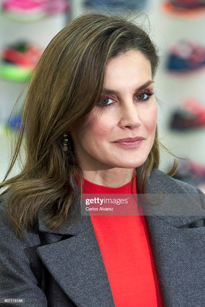 Queen Letizia of Spain visits the 'Joma Sport' factory on January 19, 2018 in Portillo de Toledo, Spain.
