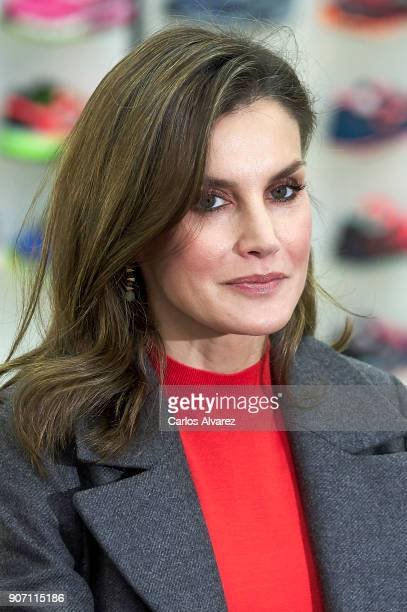 Queen Letizia of Spain visits the 'Joma Sport' factory on January 19 2018 in Portillo de Toledo Spain