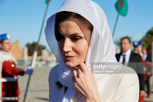 Queen Letizia of Spain visits the Mausoleum of King Mohammed V on February 14 2019 in Rabat Morocco