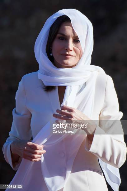 Queen Letizia of Spain visits the Mausoleum of King Mohammed V on February 14 2019 in Rabat Morocco The Spanish Royals are on a two day visit to...