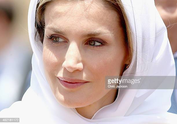 Queen Letizia of Spain visits the Mausoleum of King Mohammed V on July 15 2014 in Rabat Morocco The new King and Queen of Spain are on a two day...