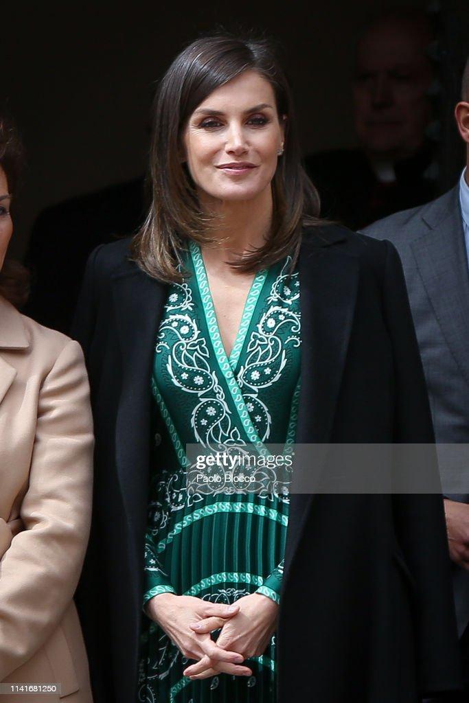ESP: Queen Letizia Of Spain Visits The New Accessibility Facilities Installed At 'Real Monasterio de La Encarnacion'