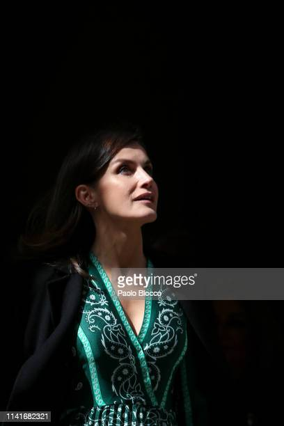 Queen Letizia Of Spain visits the new accessibility facilities installed at 'Real Monasterio de La Encarnacion' on April 10 2019 in Madrid Spain
