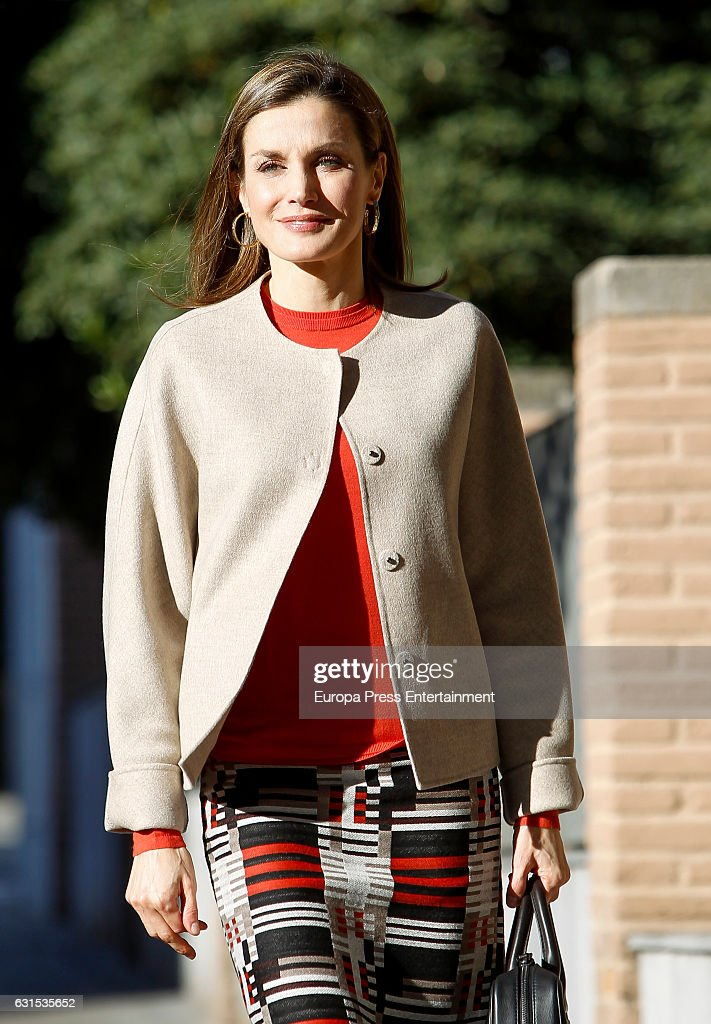 Queen Letizia Arrives To A Meeting At The FEDER : News Photo