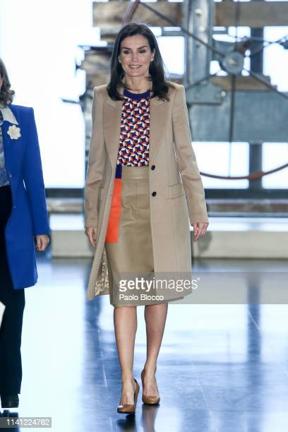 Queen Letizia of Spain visits the School of Engraving and Design of Spain's Mint for graduation diplomas of the Tomas Francisco Prieto 2018 Prize on...