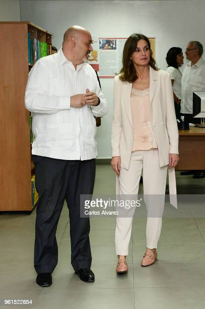 Queen Letizia of Spain visits the Spanish Technical Cooperation Office on May 22, 2018 in Port-au-Prince, Haiti. Queen Letizia of Spain is on a two...