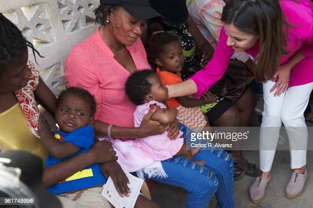 Queen Letizia of Spain visits the St Vincent de Paul Sisters College in the Cite Soleil neighborhood on May 23 2018 in PortauPrince Haiti Queen...