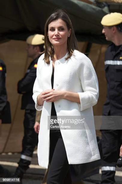 Queen Letizia of Spain visits UME at Torrejon Military Air Base on May 18 2018 in Torrejon De Ardoz Spain
