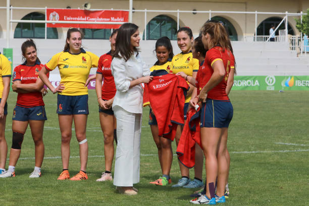 ESP: Queen Letizia Of Spain Attends The Training of The Rugby 7 Female National Team