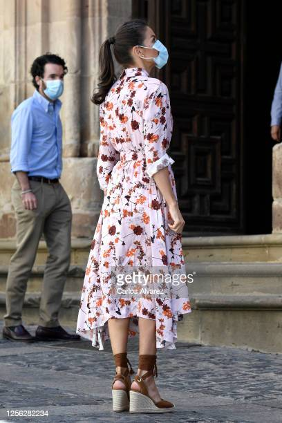 Queen Letizia of Spain wears a face mask during a visit to Antonio Machado Secondary School with King Felipe of Spain on July 15 2020 in Soria Spain...