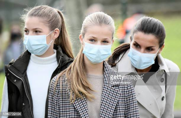 Queen Letizia of Spain with her daughters Princess Leonor and Princess Sofia during their visit to Somao, which has been honoured as the 2020 Best...