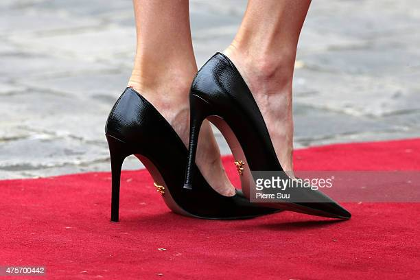 Queen Letizia of Spainshoe detail attend a Lunch hosted by french Prime Minister Manuel Valls at the Hotel Matignon during The official visit in...