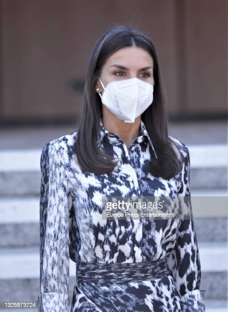 """Queen Letizia poses on her arrival at the opening ceremony of the """"World Blindness Summit Madrid 2021"""". This is the largest World Blindness Summit, a..."""