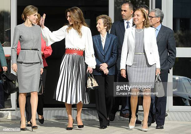 Queen Letizia Queen Rania and Margarita Salas attend Molecular Biology Center 'Severo Ochoa' at Autonoma University on November 20 2015 in Madrid...