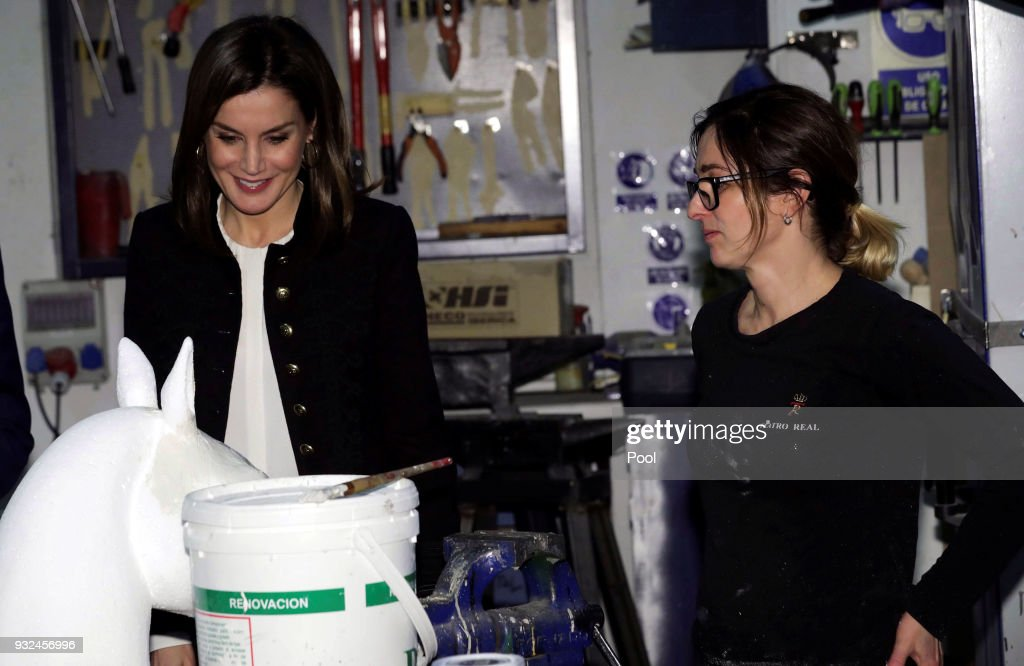 Queen Letizia of Spain Visits The Workshops Of Crafts of the Royal Theater