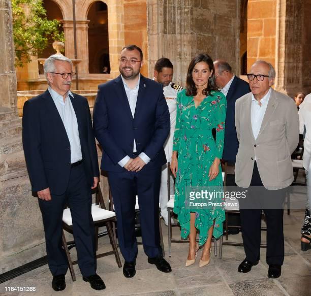 Queen Letizia , the president of Asturias, Adrián Barbón , and the presidente of Princess of Asturias Foundation, Luis Fernández-Vega , attend...