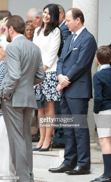 Queen Letizia's father Jesus Ortiz his wife Ana Togores and Prince Konstantin of Bulgaria attend the First Communion of Princess Sofia at the...