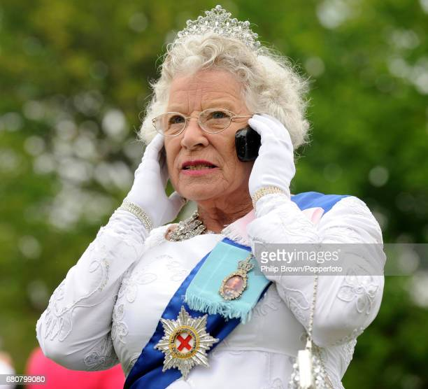 Queen lookalike Patricia Ford during a gathering in Bucklebury near Reading on the day that Kate Middleton married Britains Prince William in...