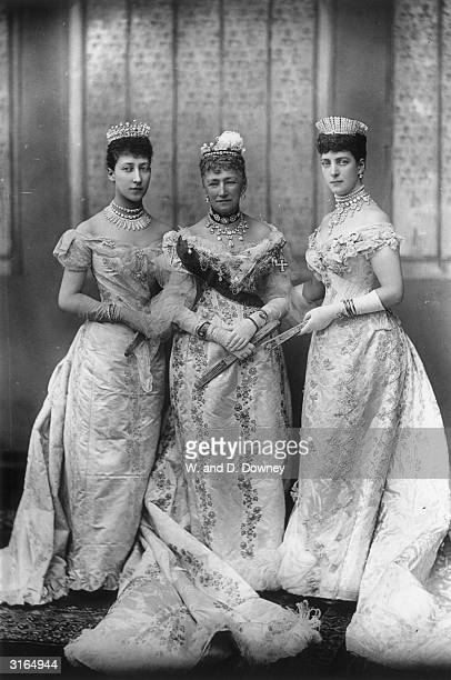 Queen Louise of Denmark centre with her daughter Princess Alexandra consort of Edward VII and granddaughter Lady Alexandra Duff Duchess of Fife on...