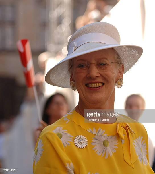 Queen Margarete of Denmark attends the Danes Worldwide celebration at the Kronburg Castle on July 27 2008 in Kronborg Denmark