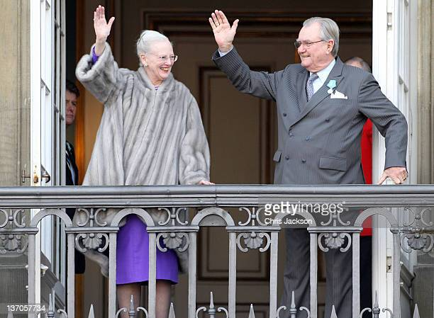 Queen Margarethe II of Denmark and Prince Henrik of Denmark make an appearance on the balcony to celebrate the Queen's 40 years on the throne at...