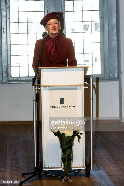 Queen Margrete of Denmark speaks at the opening of the exhibition 'Thesis' at The Round Tower on March 10 2017 in Copenhagen Denmark The exhibition...