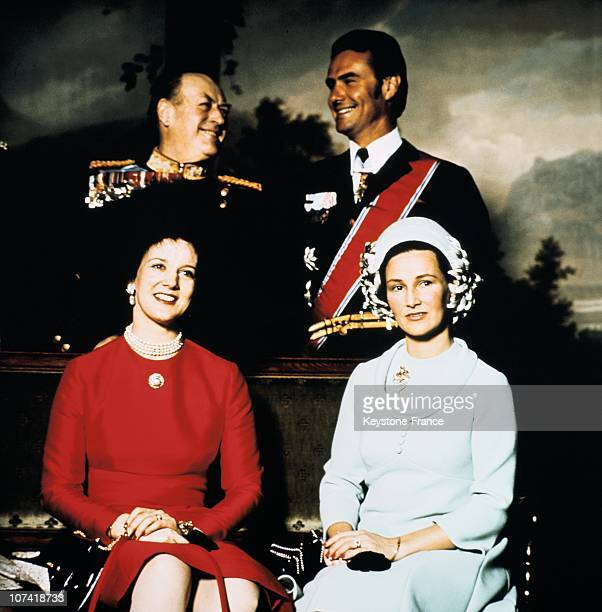 Queen Margrethe And Crown Princess Sonja Prince Henrik And King Olav V In Oslo During The Seventies