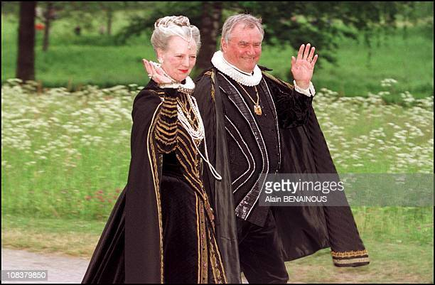 Queen Margrethe and husband Henrik in Sweden on June 18 2001