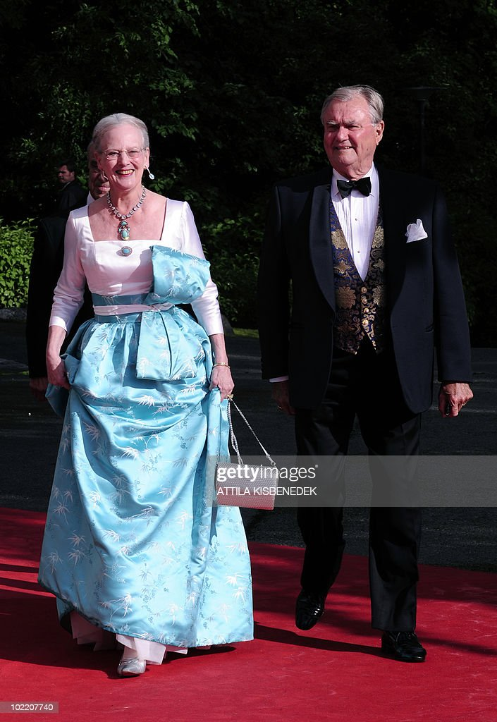 Queen Margrethe and Prince Henrik of Denmark arrive in front of the Eric Ericson Hall of Skeppsholmen in Stockholm on June 18, 2010 prior to a gala dinner presented by the local government. Less than half Sweden's population now supports the monarchy, and a quarter thinks it a bad thing, a poll showed today amid preparations for Crown Princess Victoria's nuptials this weekend.