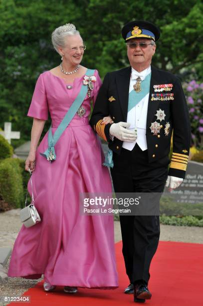 Queen Margrethe and Prince Henrik of Denmark arrives to attend the wedding between Prince Joachim of Denmark and Marie Cavallier on May 24 2008 at...