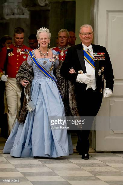 Queen Margrethe and Prince Henrik of Denmark attend a State Banquet at Christiansborg Palace during the state visit of the King and Queen of the...