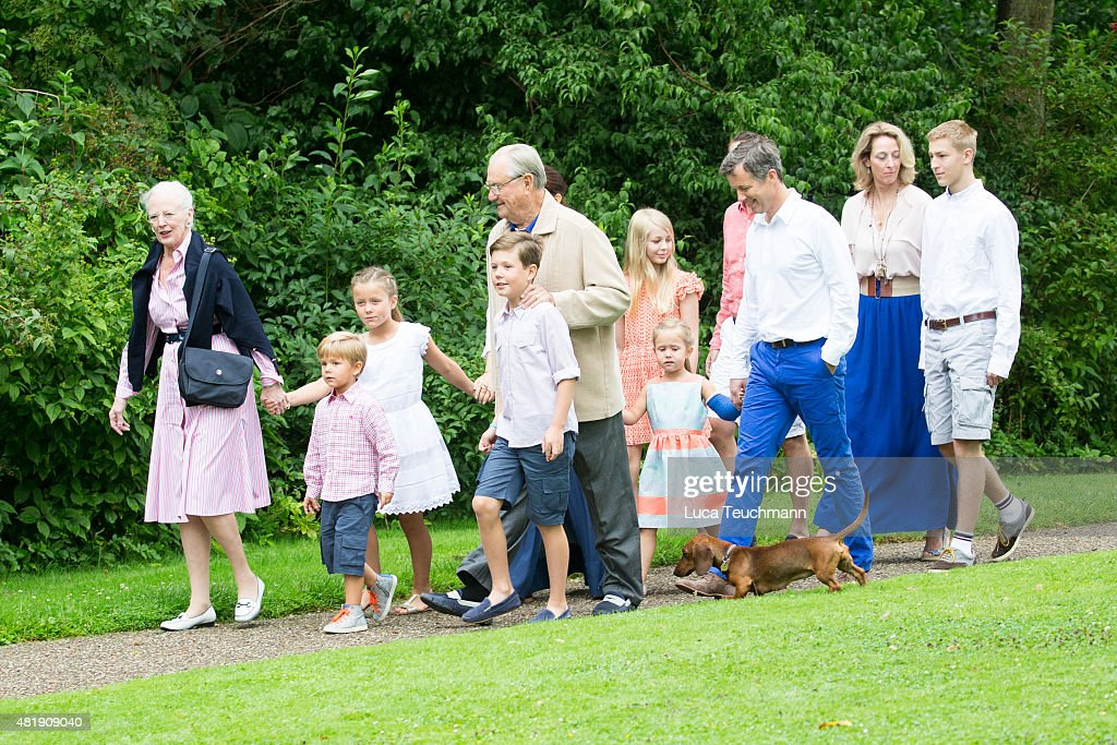 Queen Margrethe and Prince Henrik of Denmark with grandchildren and members of The Danish Royal Family attend the annual summer Photocall for The Danish Royal Family at Grasten Castle on July 25, 2015 in Grasten, Denmark.